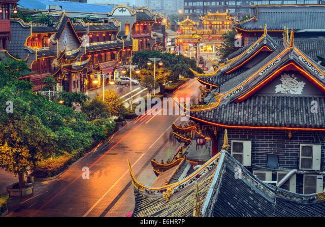 Chengdu, China at traditional Qintai Road district. - Stock-Bilder