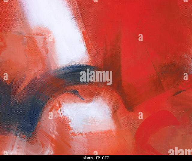 gestural abstraction created in oils, reds and white pallet, expressive, targeting book publications and music industry, - Stock Image