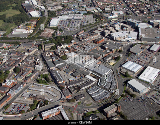 Aerial image of Bury town centre - Stock Image