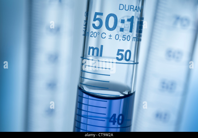 Graduated cylinders for measuring the volume of chemical substances. - Stock Image