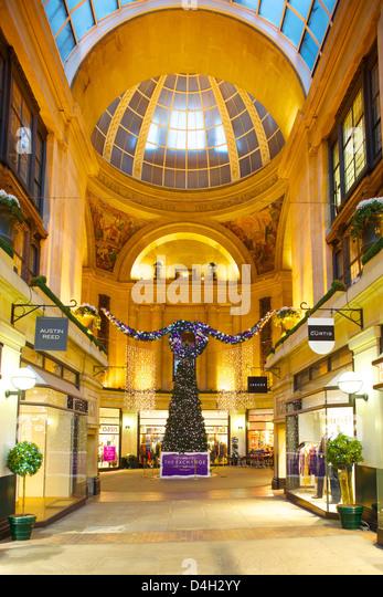 The Exchange interior at Christmas, Nottingham, Nottinghamshire, England, UK - Stock Image