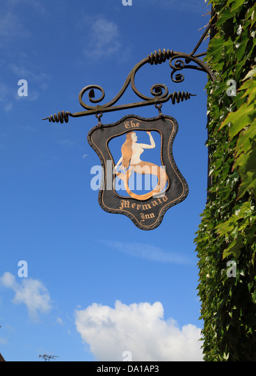 The Mermaid Inn sign at Rye, East Sussex, UK, GB - Stock Image