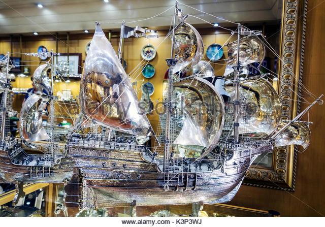 Lisbon Portugal Baixa Garsil Joalheiros jewelry store silver caravel caravela sailing ship scale model display sale - Stock Image