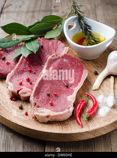 Red Raw Steak - Stock Image