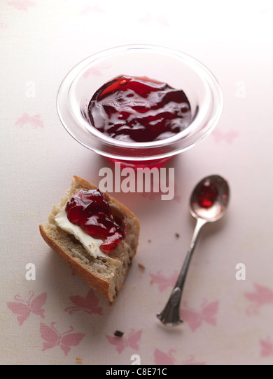 Bread,butter and redcurrant jelly - Stock Image