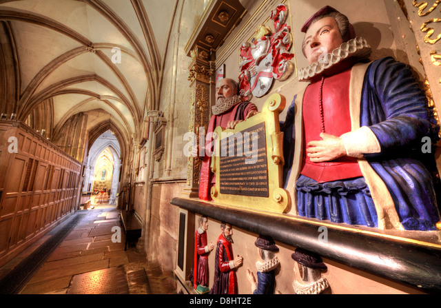 Southwark Cathedral interior London, the Tre-hearne statue - Stock Image