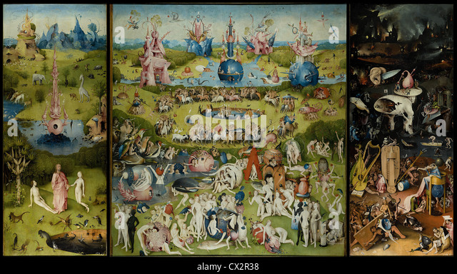 The Garden of Earthly Delights (circa 1500) by Hieronymus Bosch - Stock Image