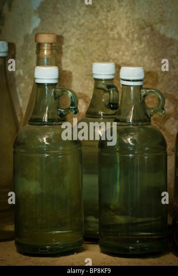 Old empty bottles - Stock Image