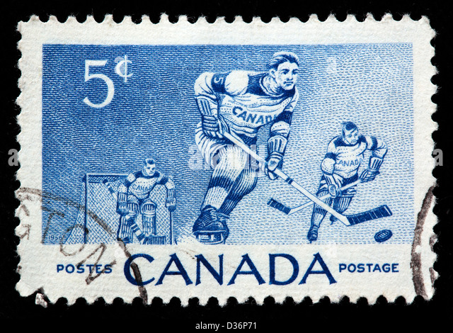 Ice Hockey Players, postage stamp, Canada, 1956 - Stock Image