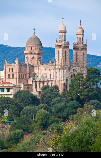 The Christian cathedral (Basilica of St. Augustine and Hippone, Annaba, Eastern Algeria, Algeria, North Africa - Stock Image