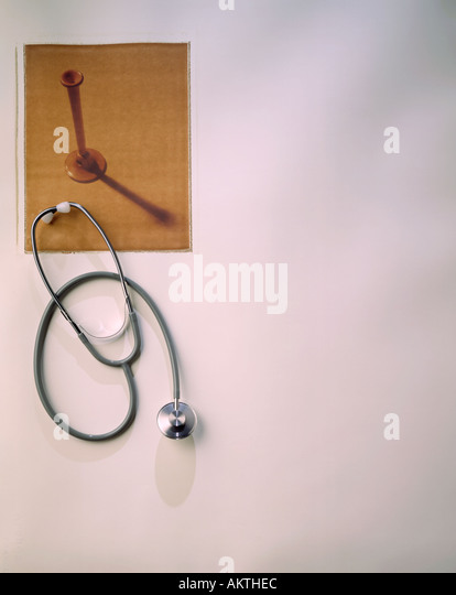 polaroid transfer image antique physicians stethoscope and modern day stehoscope  rx RX - Stock Image
