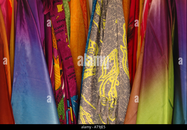 Castries St Lucia Pointe Seraphine duty free shopping center Bagshaws silk screen print designs - Stock Image