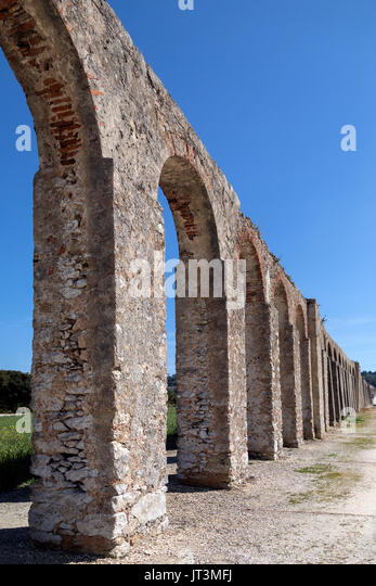 Ancient aqueduct in the medieval walled town of Obidos in the Oeste region of Portugal. - Stock Image