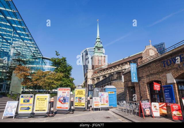 England, London, Advertising Billboards Blocking Footpath - Stock Image