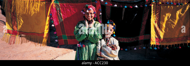 Two girls at Dades Gorge Morocco - Stock Image