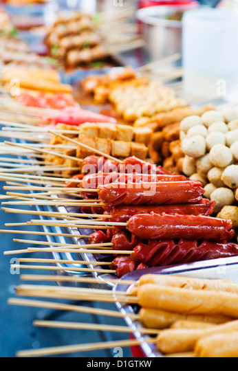 Thai food on a street food stall at the Khaosan Road market in Bangkok, Thailand, Southeast Asia, Asia - Stock Image