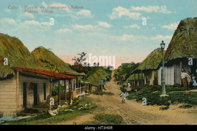 'Cuba: Pueblo de Pescadores. Bohios. Fishing Village', 1919. Artist: Unknown. - Stock Image