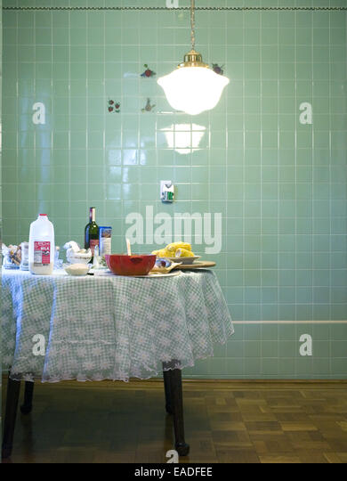 table with food in kitchen - Stock Image