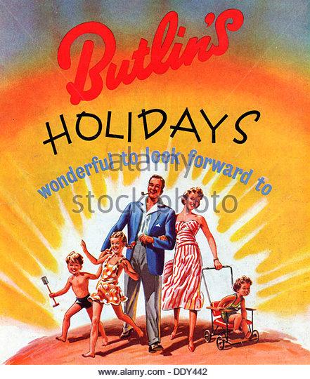 Advert for Butlin's holidays, 1950s. - Stock-Bilder