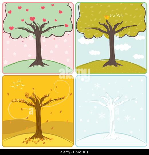 A vector illustration of a tree in four seasons - Stock Image