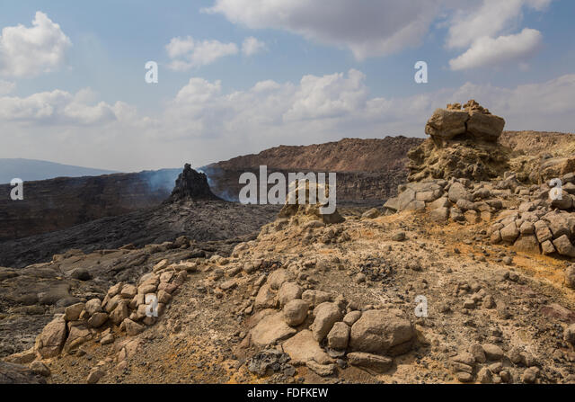 A new Hornito still steams at the north end of Erta Ale's caldera - Stock Image