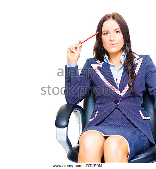 Young Profession Female Business Person Holding Pencil Up To Head While Thinking On A Swivel Chair In A Ideas And - Stock Image