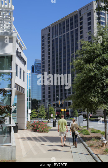 Atlanta Georgia Buckhead Peachtree Street high rise office building commercial real estate sidewalk business district - Stock Image