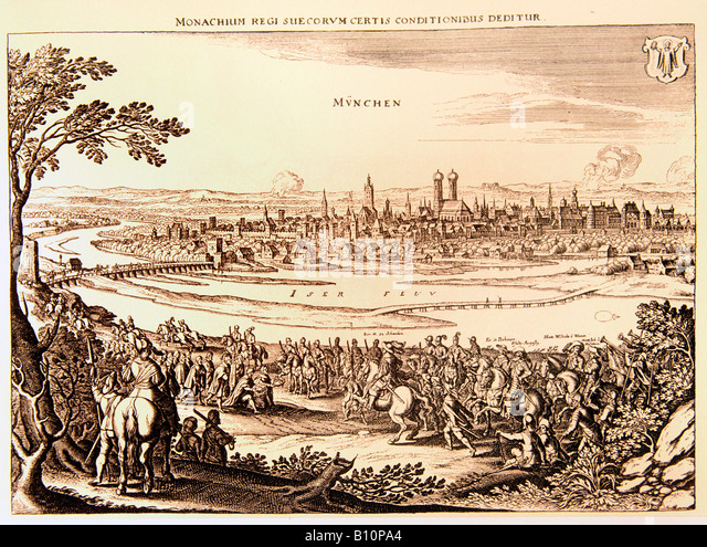 Entry of Swedes into Munich 7th May 1632 . Gustavus Adolphus campaign . Thirty year war . By Merian - Stock Image