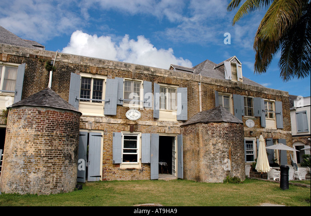 Nelsons Dockyard National  Park Antigua Copper and Lumber Store Hotel at English Harbour - Stock Image