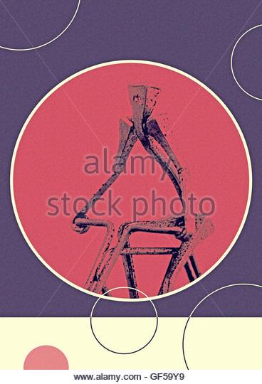Cycling mid century metal vintage model figurine retro design - Stock Image