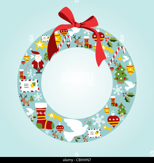 Christmas icon set in wreath shape background. Vector file available. - Stock Image
