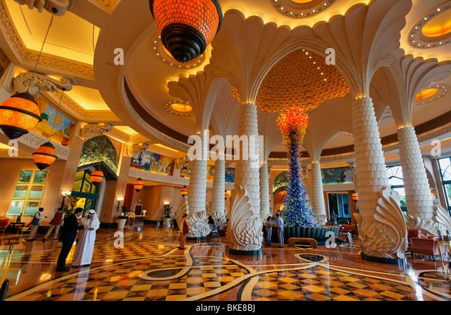 Lobby of Atlantis Hotel, The Palm Jumeirah, Dubai , - Stock Image
