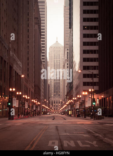 A view of the Chicago Board of Trade Building, at the end of the 'LaSalle Street Canyon' of skyscrapers. - Stock Image