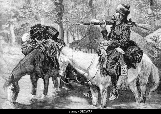 AMERICAN FUR TRAPPER about 1850 - Stock-Bilder