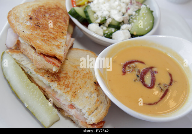 Georgia Atlanta Westin Peachtree Plaza Sun Dial Restaurant dining lunch food plate turkey club sandwich pickle sweet - Stock Image