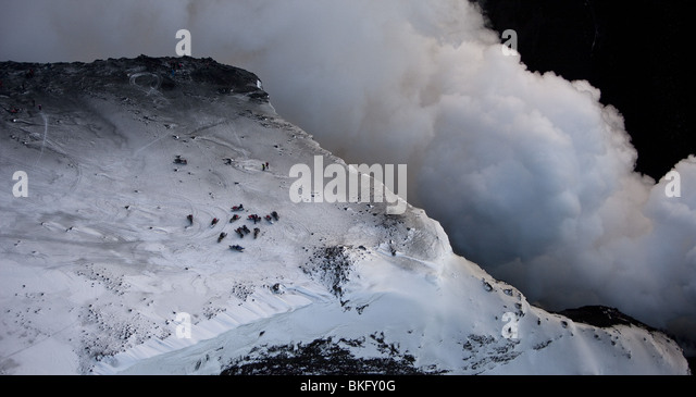 Steam and Lava- volcano eruption in Iceland at Fimmvorduhals, a ridge between Eyjafjallajokull glacier and Myrdalsjokull - Stock Image