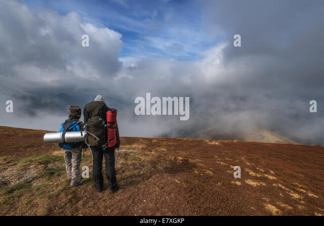 mother and son high mountain - Stock Image