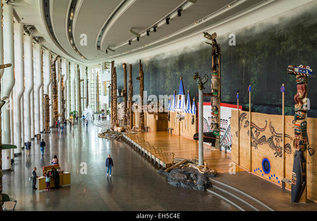 A large interior exhibit Hall at the Museum of Civilization in Hull, Quebec, Canada. - Stock Image