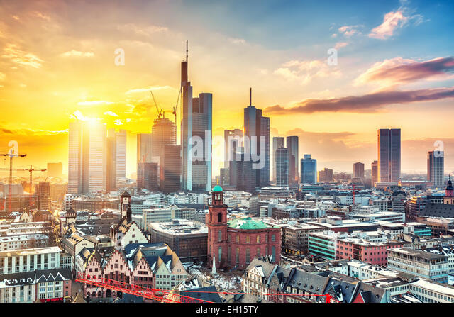 Frankfurt at sunset - Stock-Bilder