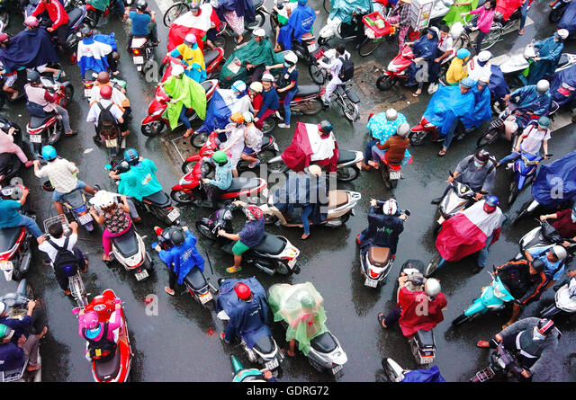 colorful scene of Asia city in rush hour after rain evening, - Stock Image