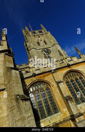 South side of St Mary's parish church, Fairford, Gloucestershire - Stock Image