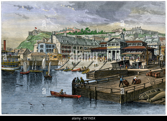 Market-Hall and boat landing in Quebec City, Canada, 1870s. - Stock Image