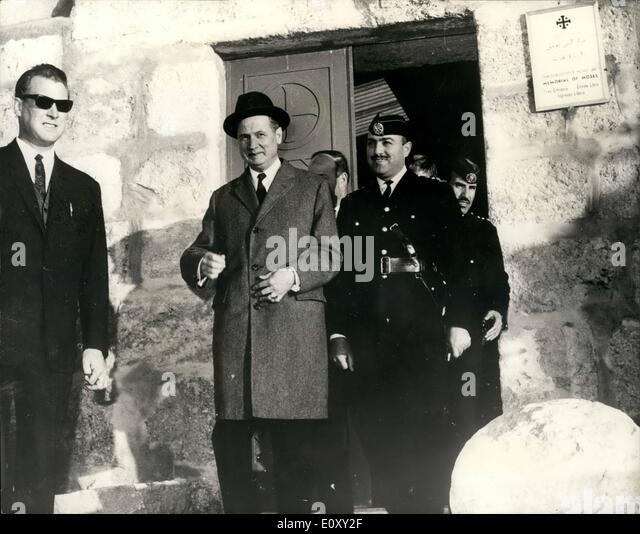 Jan. 16, 1968 - 16-1-68 Dr. Gunnar Jarring visits historical sites. Dr. Gunnar Jarring, United Nations Middle East - Stock Image