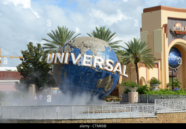 Universal Globe outside the entrance to Universal Studio's Orlando Florida. - Stock Image
