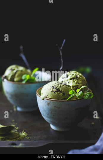 Matcha mint choc chip ice cream - Stock Image