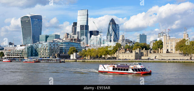 Gherkin Cheesegrater and  Walkie Talkie skyscraper office blocks dominate the City of London skyline - Stock Image