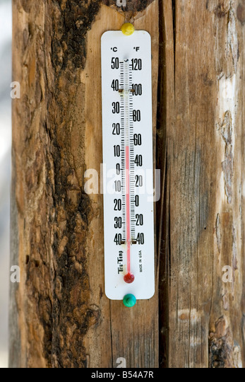Thermometer on log pole - Stock Image