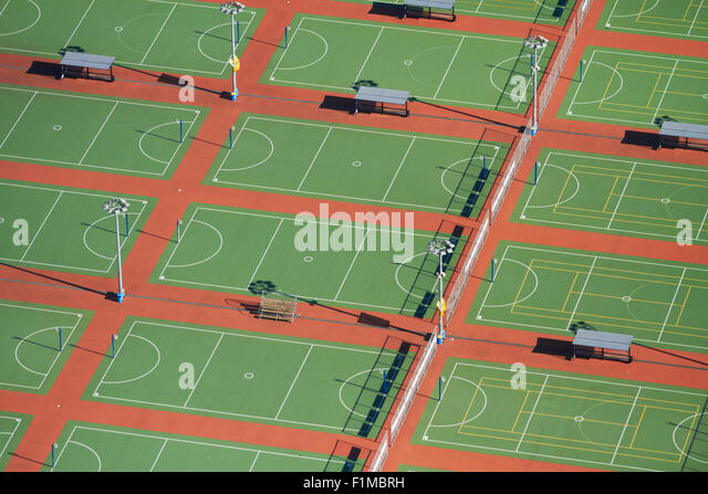 Netball Courts, Auckland Netball Centre, Mount Wellington, Auckland, North Island, New Zealand - aerial - Stock Image