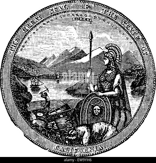 Great Seal  of the State of California vintage engraving. Vintage engraved illustration of the Seal of California - Stock Image