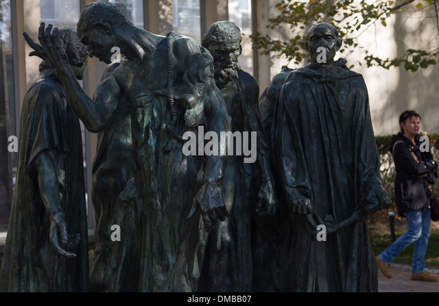 THE BOURGEOIS OF CALAIS BY AUGUSTE RODIN IN THE GARDENS OF THE MUSEUM, CREATED IN 1916 BY AUGUSTE RODIN, THE RODIN - Stock Image